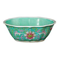 Chinese Turquoise Peony Bowl Late Qing Dynasty