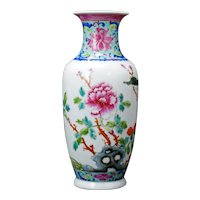 Chinese Polychrome Vase Floral and Bird Design Republic Period