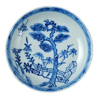 Chinese Kangxi Blue and White Saucer with Pine and Bamboo Circa 1700