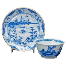 Chinese Kangxi Blue and White Teacup and Saucer Circa 1700