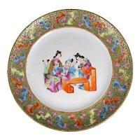 Chinese Mandarin Polychrome Plate Circa 1840