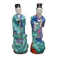 Antique Chinese Porcelain Polychrome Nobleman and Wife Republic Period