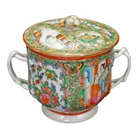 Chinese Rose Medallion Twig Handle Sugar Bowl with Lid 2nd Half 19th century