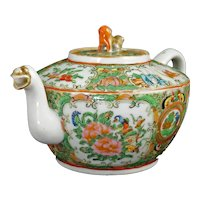 Chinese Rose Medallion Teapot Dragon Spout 2nd Half 19th Century