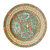 Chinese Rose Medallion Reticulated Plate 2nd Half 19th Century