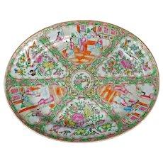 "Large 16 1/2"" Chinese Rose Medallion Large Platter Mid-19th Century"
