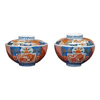 Pair 19th C Meiji Arita Imari Chawan Lidded Bowls
