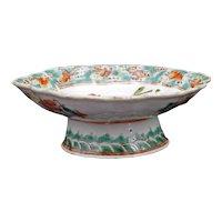Chinese Polychrome Phoenix Pedestal Bowl Tongzhi Reign Mark 19th Century