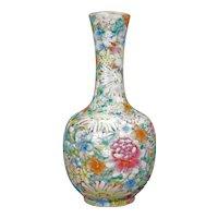 Chinese Mille Fleur Porcelain Bottle Vase with Qianlong Reign Mark Late Qing /Republic