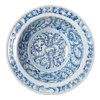 Chinese Qing Blue and White Basin with Scrolling Flower Design 19th Century