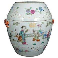 Chinese Polychrome Lidded Barrel Shaped Jar Late Qing/Republic Period