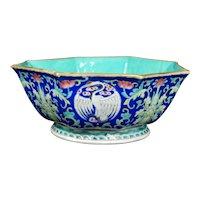 Chinese Octagonal Polychrome Crane Bowl Tongzhi Reign Mark 19th Century