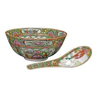 Chinese Rose Medallion Bowl with Spoon Late 19th Century