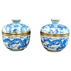Pair Chinese Covered Oatmeal Dragon Bowls Tongzhi Mark Late Qing/Republic
