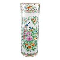 Chinese Rose Medallion Cylinder Vase Late 19th Century