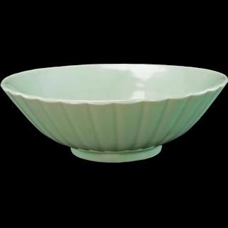 Chinese or Korean Monochrome Celadon Fluted Bowl Circa 1900