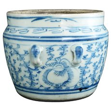 Chinese Kitchen Qing Blue and White Jar with Handles 19th Century