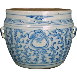 Medium Chinese Kitchen Qing Blue and White Jar/Pot with Handles 19th Century
