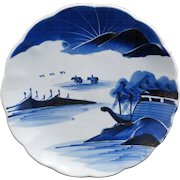 """Japanese Blue and  White Arita Porcelain 9"""" Plate with Mountains, Sea and Boats - 19th Century"""