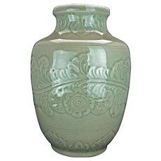 Incised Celadon Porcelain Vase Circa 1900