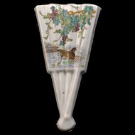 Chinese porcelain fan shaped wall pocket with wisteria and duck early 20th century