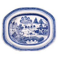 Large Chinese export blue and white meat platter 18th/19th century