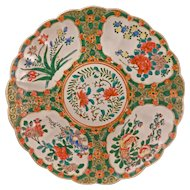 """Large 16"""" Japanese export over-glaze enamel porcelain charger done in a famille rose Chinese style circa 1900"""