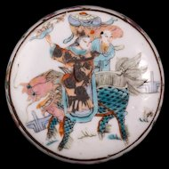 Chinese porcelain over glaze enamel paste box with Chi lin and immortal circa 19th century