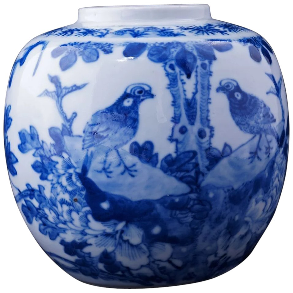 Hand Painted Chinese Blue And White Ginger Jar With Birds