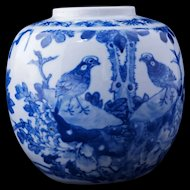 Hand painted Chinese blue and white ginger jar with birds early 20th century