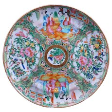 Chinese porcelain rose medallion over glaze enamel plate 19th century