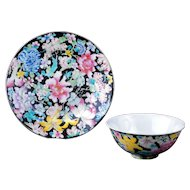 Chinese porcelain famille noir thousand flower design bowl and plate with Guangxu reign mark late 19th C