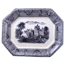 "Large Staffordshire mulberry transferware platter ""Rhone Scenery"" design by Mayer c 1850"