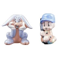 Ceramic Elmer Fudd and Bugs Bunny figurines by Evan K Shaw Warner Brothers circa 1947