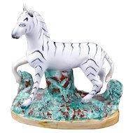 English Staffordshire zebra figurine late 19th century