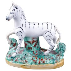 English Staffordshire zebra figurine late 19th century