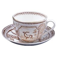 Aesthetic Movement Charles Allerton & Sons Stag pattern transfer ware child's cup and saucer circa 1890
