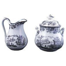 Brownfield English transfer ware Chinoiserie design sugar and creamer late 19th century