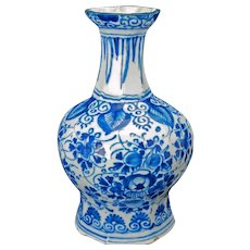 Dutch delft blue and white vase c 1680