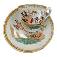 Victorian Aesthetic Movement child's polychrome transfer ware teacup and saucer robin circa 1870