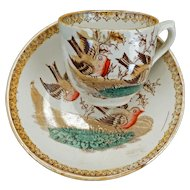Victorian Aesthetic Movement child's polychrome transfer ware teacup and saucer robin red breast circa 1870
