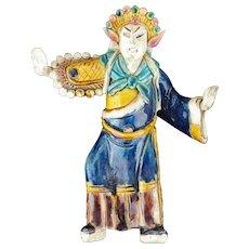 "Large Chinese glazed ceramic Peking opera ""mudman"" figure early 20th century"