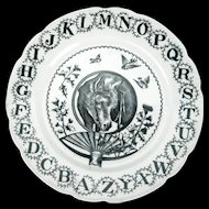 Aesthetic Movement Victorian child's ABC Staffordshire transfer ware plate by W. Adams & Co. Tunstall England circa 1880