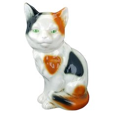 German ceramic calico cat bottle early 20th C