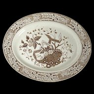 English Aesthetic Movement large Staffordshire sepia transfer ware platter Wedgewood Beatrice pattern circa 1870