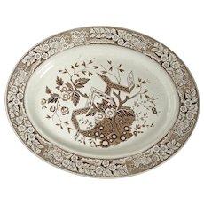 English Aesthetic Movement large Staffordshire sepia transfer ware platter Wedgwood Beatrice pattern circa 1870
