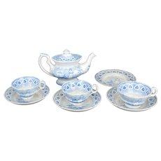 Early Staffordshire Child's Tea set Dancing Goat blue transfer ware pearl ware circa 1860