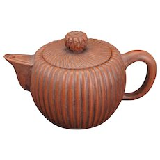 Chinese Yixing ware ribbed teapot early 20th century