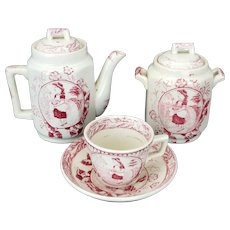 "Child's Staffordshire Red Transferware Charles Allerton ""Little May with Apron"" Tea Set circa 1880"