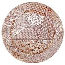 English Staffordshire ceramic Aesthetic Movement transferware plate late c 1885